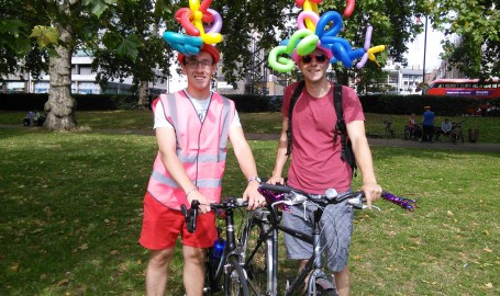 Me and Tom with our balloon helmets