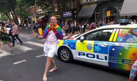 Me in front of the Pride police car
