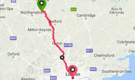 The route from WEL to LON
